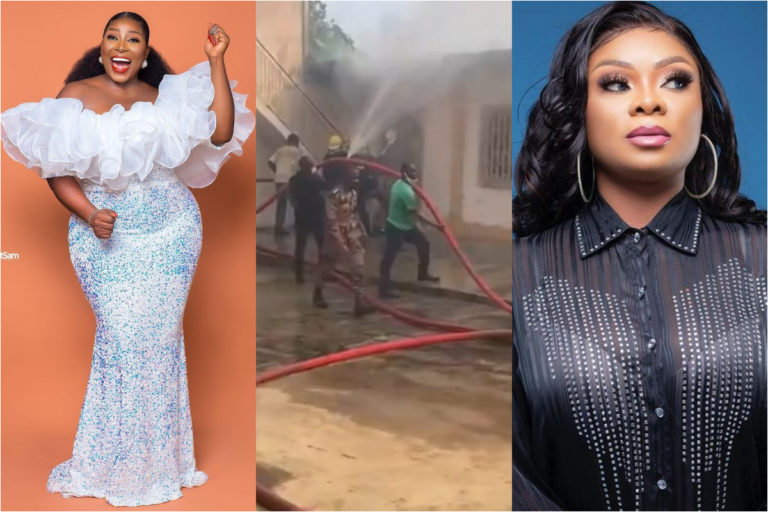 Actress Gloria Sarfo reveals something important to Beverly Afaglo shortly after her house was gutted by fire and was left with nothing