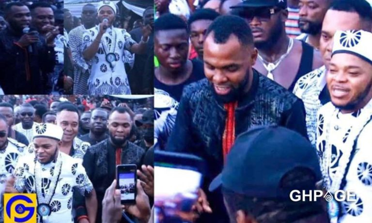 Video: Beautiful moment Rev Obofour clashed with Angel Obinim in a dance battle at father's funeral