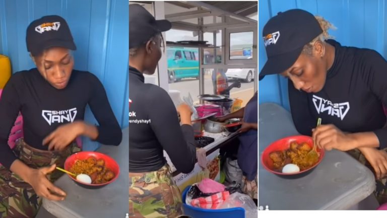 """Wendy Shay """"Broke"""" As She Is Seen Eating Gari And Beans 'Gob3' At A Joint (+VIDEO) » ™"""