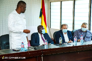 Sports Minister interacting with GFA officials and Milovan Rajeva