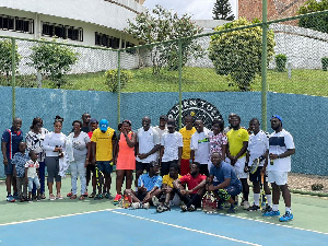 Players from Pulse Fitness and Our Lady of Grace Tennis Club