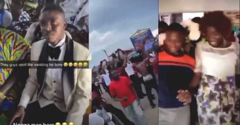 (+VIDEO) Groom in angry mood as his University mates from KNUST storm his wedding uninvited to display Conti Tradition » ™