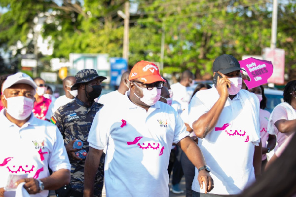 Mike Oquaye Jnr leads Free Zones staff in breast cancer awareness campaign