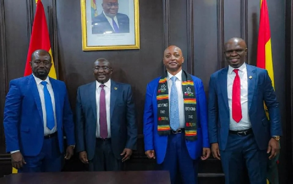 CAF President Patrice Motsepe arrives in Ghana, meets Vice President Bawumia
