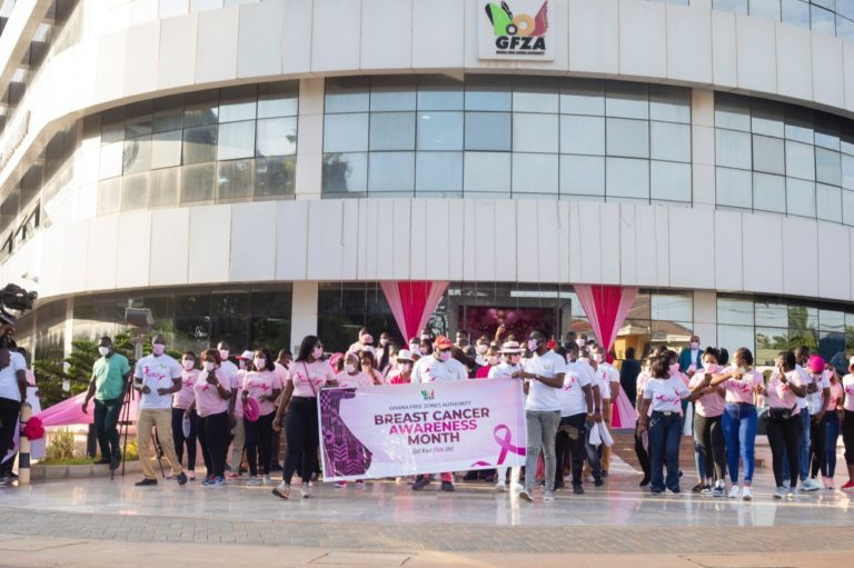Free Zones Authority CEO, Mike Oquaye leads staff to create breast cancer awareness