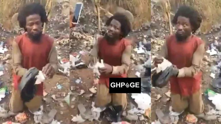 Man faking madness to collect sanitary pads at dumpsite caught red-handed (Video)