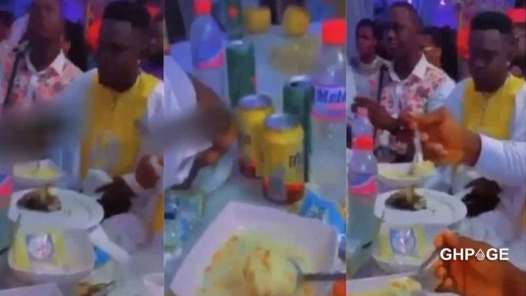 Couple serves 'gari soakings' and groundnut to guests at a wedding reception
