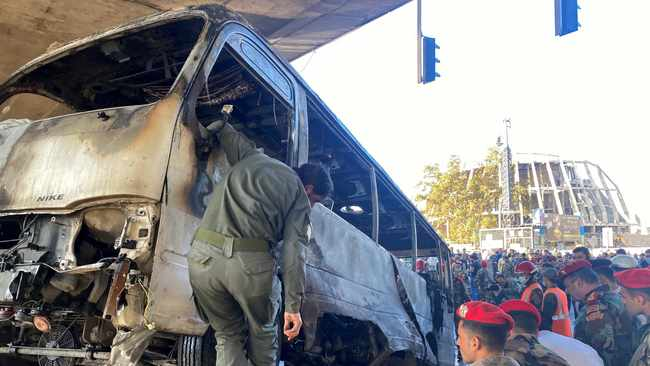 Bombs planted on military bus in Damascus kill at least 14, in deadliest attack in years