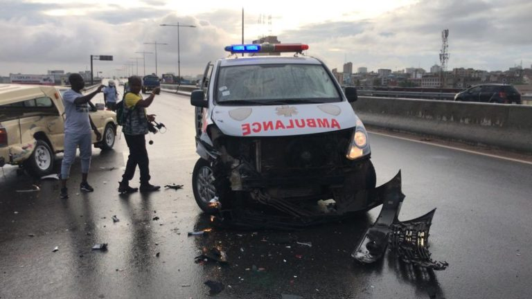 Ambulance carrying patient involved in accident [Photos]