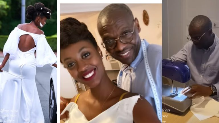 Bride Warms Hearts At She Wears Wedding Gown Her Father Made For Her (+Photos)
