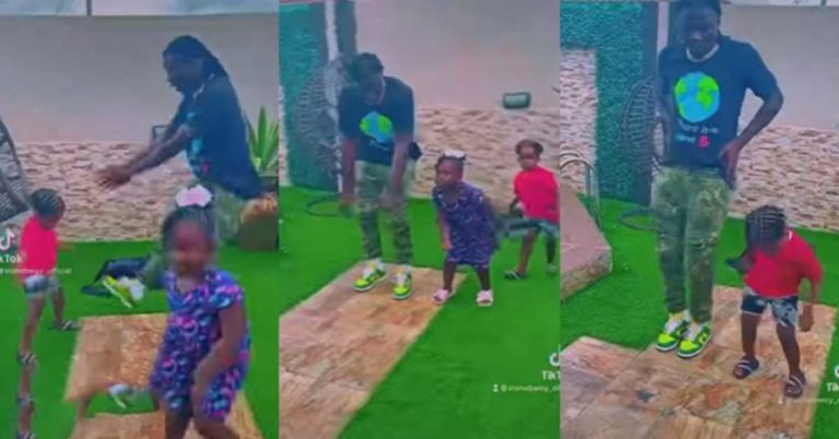Cute video of Stonebwoy teaching his children how to dance to his song warm hearts » ™