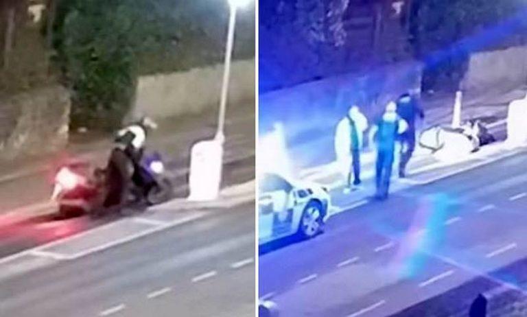 Teenager caught on CCTV carefully staging a motor bike crash